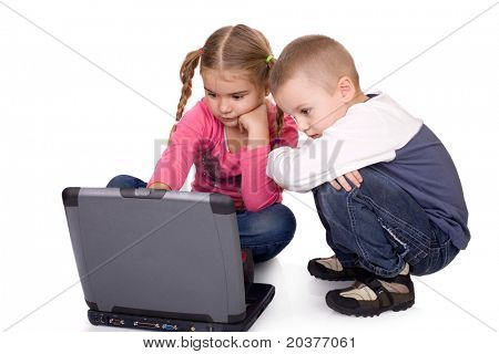 children learning or playing computer games