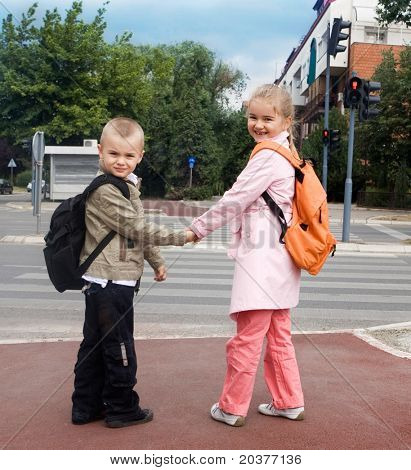 school children crossing the street