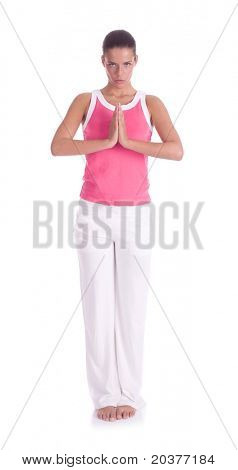 healthy woman practicing yoga exercise