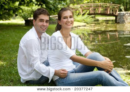 young couple in love at the park