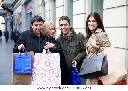 teenage friends in shopping