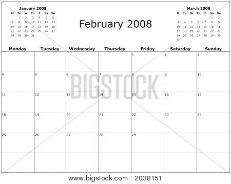 2008 Year Monthly Calendar