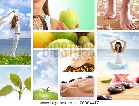 Collage made of many pictures about dieting, fitness and sport