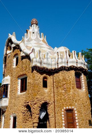 BARCELONA, SPAIN - JUNE 5: The famous Park Guell on June 5, 2010 in Barcelona, Spain. The famous park, designed by Antoni Gaudi, was built between 1900 and 1914 and opened as a public park in 1920