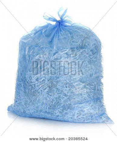 recycle - garbage bag full of shredded paper