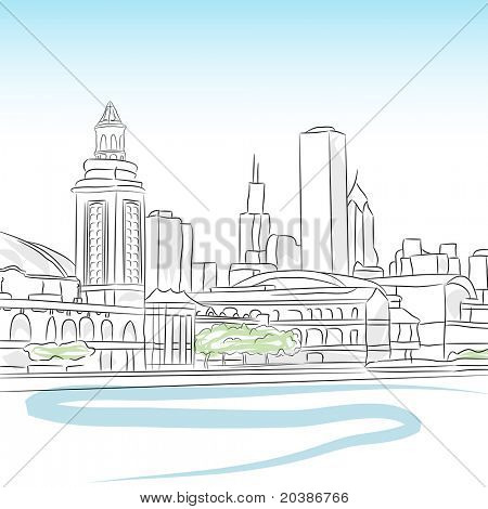 An image of a downtown skyline of chicago.