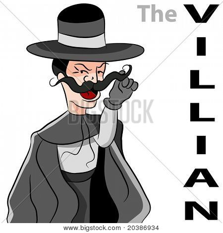 An image of a man dressed as an evil villian twirling his moustache.
