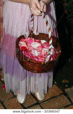flower girl in layered pink skirt