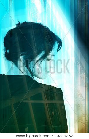 Woman with soft hair and black suit on backdrop of lines and designs