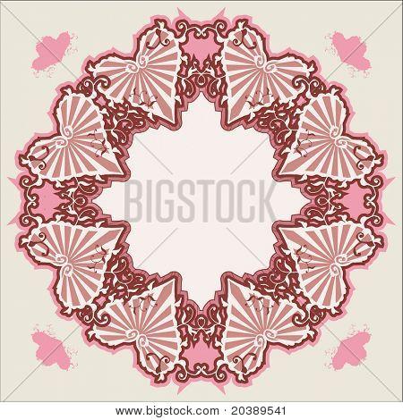 Ilustração em vetor de coração rosa empoeirada e formas florais na moda vintage Victorian