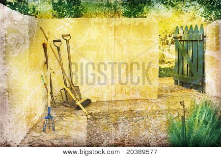 Grunge background with farm yard, gardening tools and rustic gate