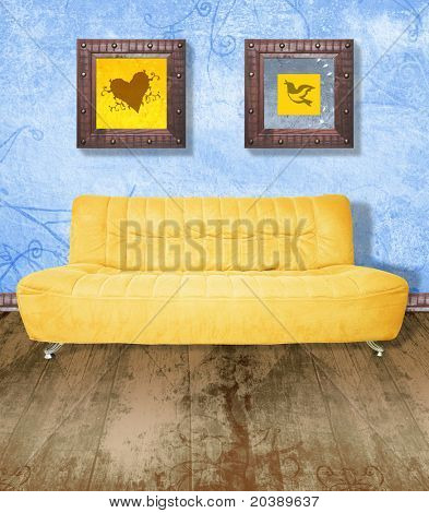 Yellow couch against grunge blue painted wall and brown wood floor. Digital illustration from my images and designs.