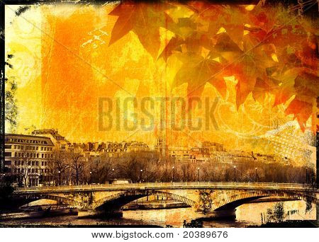 Grunge Paris bridge and leaves background with burnt edges and grubby texture