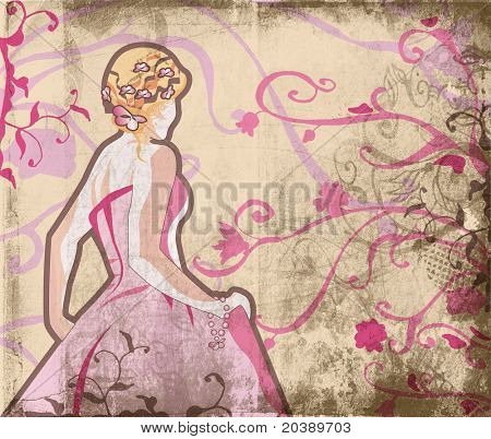 Grunge beautiful bride in pink dress on page with swirls and scrolls