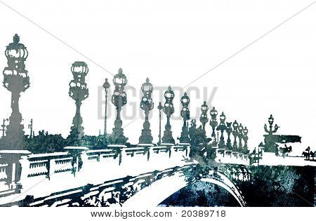 Grunge Bridge in Paris, France, on rich painted paper texture and copy space on white