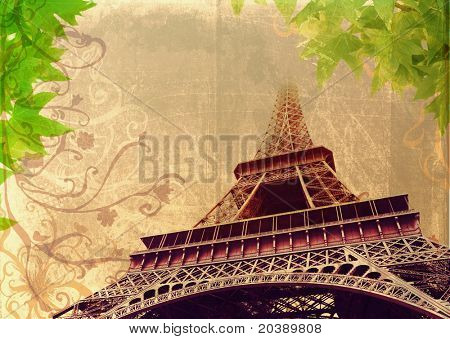 Eiffel Tower in high contrast sepia â?? France, Paris, on grunge background with swirls and scrolls