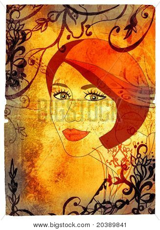 Grunge woman face with red hair illustration of rich paper texture with floral swirls. Clipping path for edge is incl
