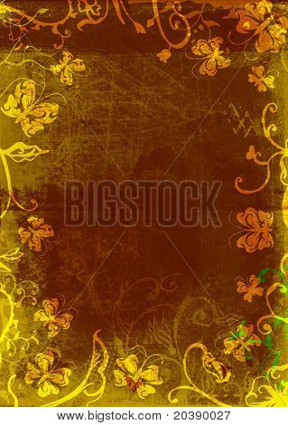 Grunge page with paper texture and floral borders with swirls, scrolls and nature butterfly elements