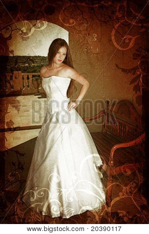Brunette bride with long hair in sleeveless wedding dress on a balcony next to antique bench with grunge swirls and scrolls background
