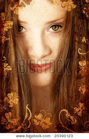 Brunette woman with long hair and green eyes on swirls and scrolls grunge swirls background with butterflies, paper grain