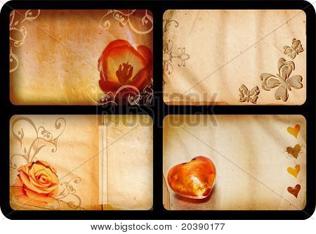 Grunge jumbo ? 10x15cm ? cards with romantic theme: flowers, hearts and butterfly designs