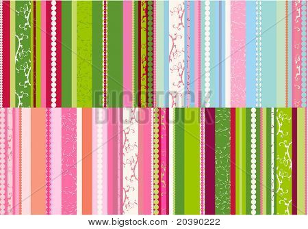 Bright stripes background with floral swirl elements, combination of four designs
