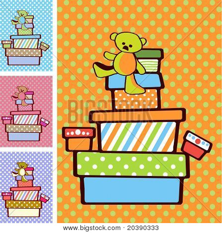 Gift boxes stacked on top of each other on festive bright background in variety of colours for boy and girl option