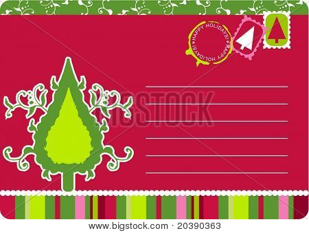 Christmas postcard with swirls, scrolls and Christmas tree. Stamps, seals and copy space in vector format.