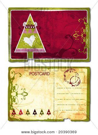 Grunge-Postkarte-Vorder- und Rückseite mit Weihnachtsbaum und Herz Windung Design und reichen Papierstruktur. Cl