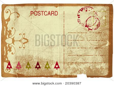 Grunge Christmas post card back with swirl design and rich paper texture. Clipping path included