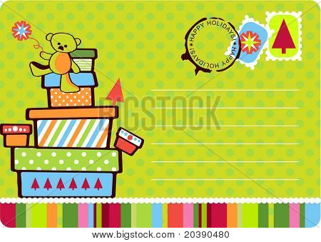 Christmas fun postcard illustration with gift boxes stacked with teddy on top. Seals, stamps and copy space