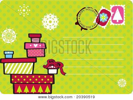 Christmas fun postcard with snowflakes, polka dot and gift boxes stacked. Seals, stamps and copy space in vector format