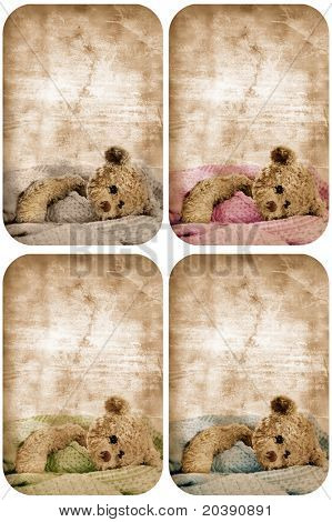 set of four grunge cards with teddy bear in blanket and space for text