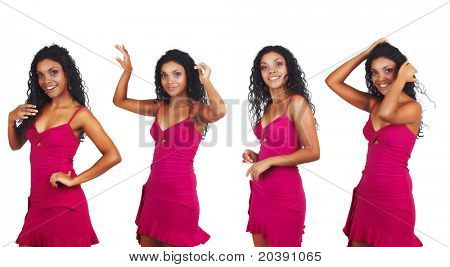 beautiful African woman with long curly hair dancing in short pink summer dress, four poses.