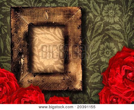 grunge wallpaper with rustic frame and red roses