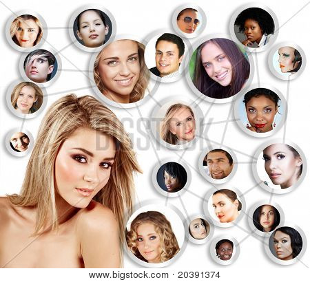 beautiful caucasian young woman with social network of young peer friends men and women in their 20s.