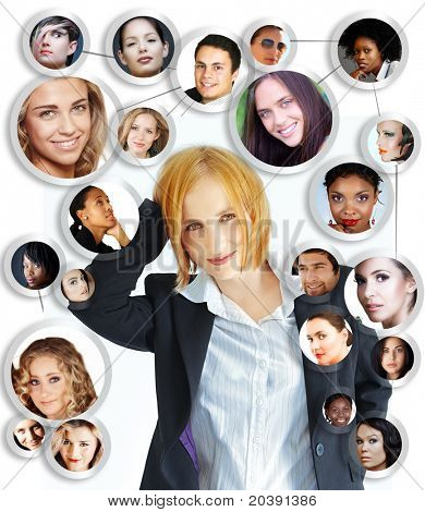 illustration of happy young businesswoman with her social network of friends and clients on white background