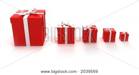 Gift Boxes In A Line