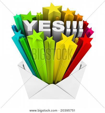 An envelope opening to reveal the word Yes, symbolizing an agreement, acceptance or approval that has been eagerly awaited