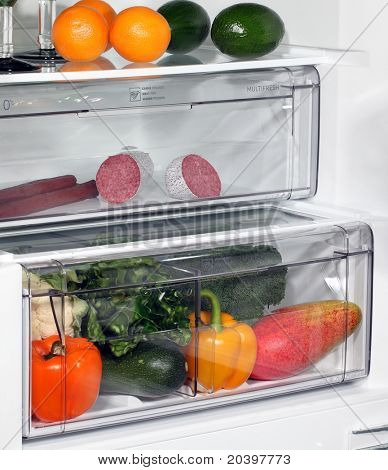 The inside of refrigerators. Full of fresh food refrigerator.