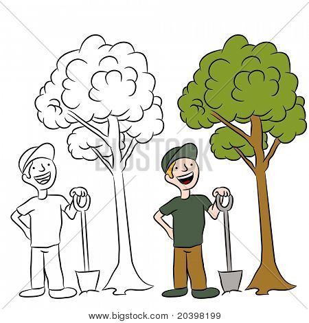 An image of a man planting a sapling tree.