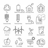 Eco Icons Vector Set. Thin Line Ecological Signs For Infographic, Website Or App. Powersave Lamp, Nu poster