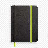 Realistic Black Notebook With Green Elastic Band. Top View Diary Template. Closed Diary. Vector Note poster