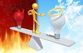 The Original 3D Character Illustration Balancing Between A Good Idea And A Bad Idea poster