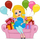 foto of bombshell  - Illustration of a Pregnant Woman Surrounded with Gifts - JPG