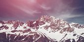 Winter Landscape Of Snow Mountain Range poster