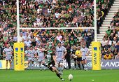 NORTHAMPTON, UK - SEPT 05: Crowd watch on as Steven Myler strikes a penalty during Northampton Saint
