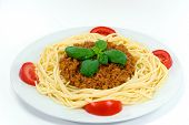 Spaghetti Bolognese With Red Tomatoes , Parmesan Cheese. poster