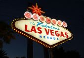 image of las vegas casino  - Welcome To Las Vegas neon sign at night - JPG