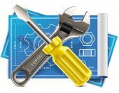 Vector wrench and screwdriver on blueprint XXL icon